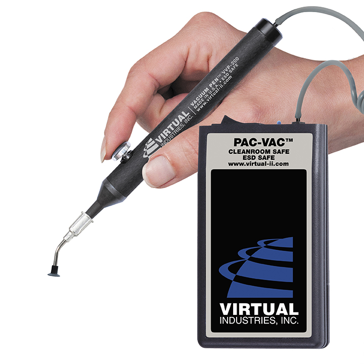 PAC-VAC™ KIT WITH NINE BUNA-N STATIC DISSIPATIVE NON-MARKING VACUUM TIPS, OPERATES ON 9 VOLT BATTERY
